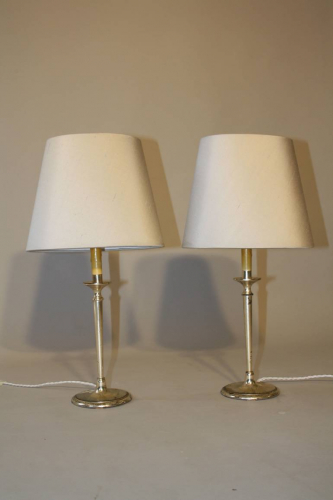 A pair of silver candlestick table lights. French c1950
