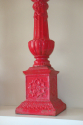 A pair of 19thC Victorian red painted cast iron candlesticks - picture 2