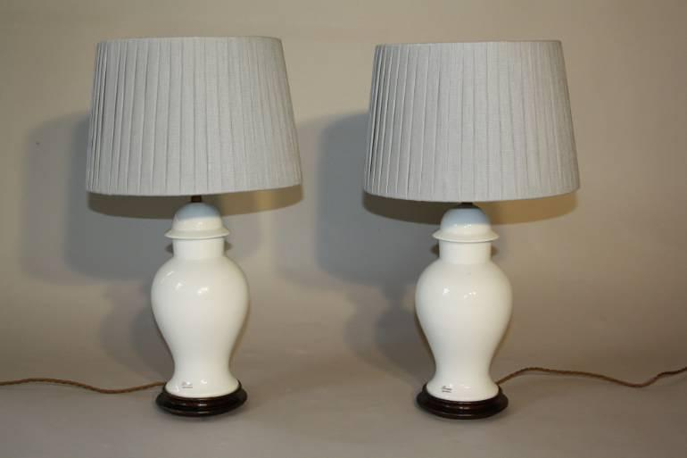 White Limoges table lamps. French c1940