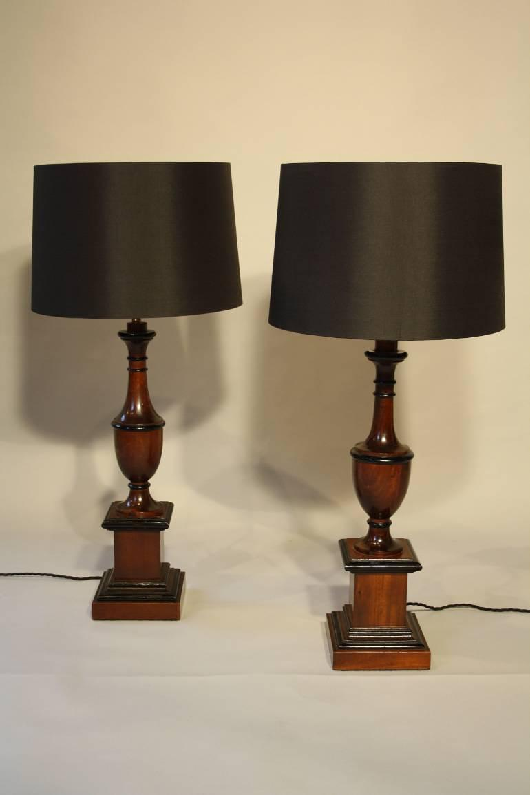 Wood urn shaped table lamps