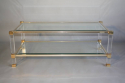 A lucite framed and glass two tier coffee table - picture 2