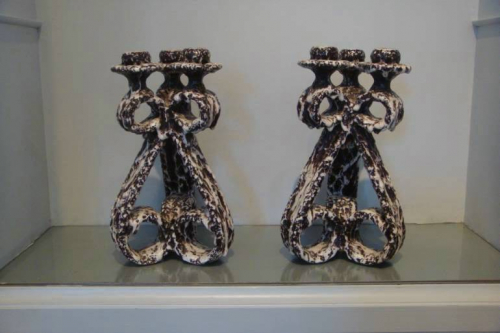 A pair of Vallauris grotto candlesticks, French c1960