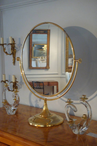 Large gold metal dressing table mirror, French, c1970