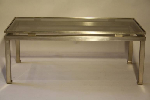 Guy lefevre for Maison Jansen - a brush steel rectangular coffee table. French c1960
