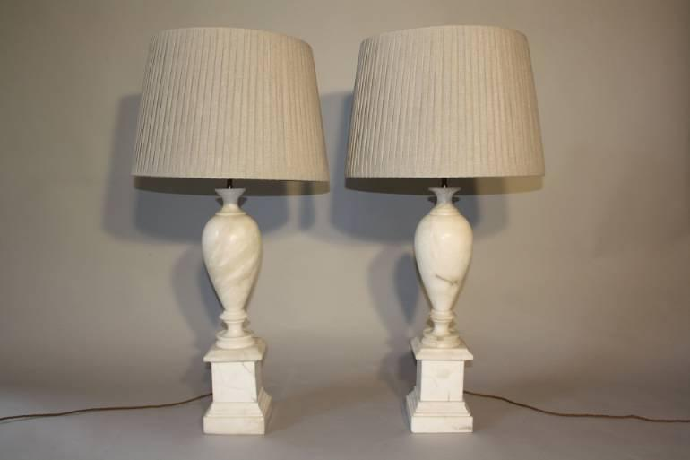 French 1960`s marble table lamps