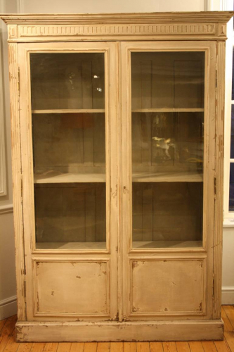 Antique French late C19th painted bookcase/cabinet.