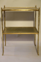 Two tier leather and gold metal bamboo side table, French c1950 - picture 1
