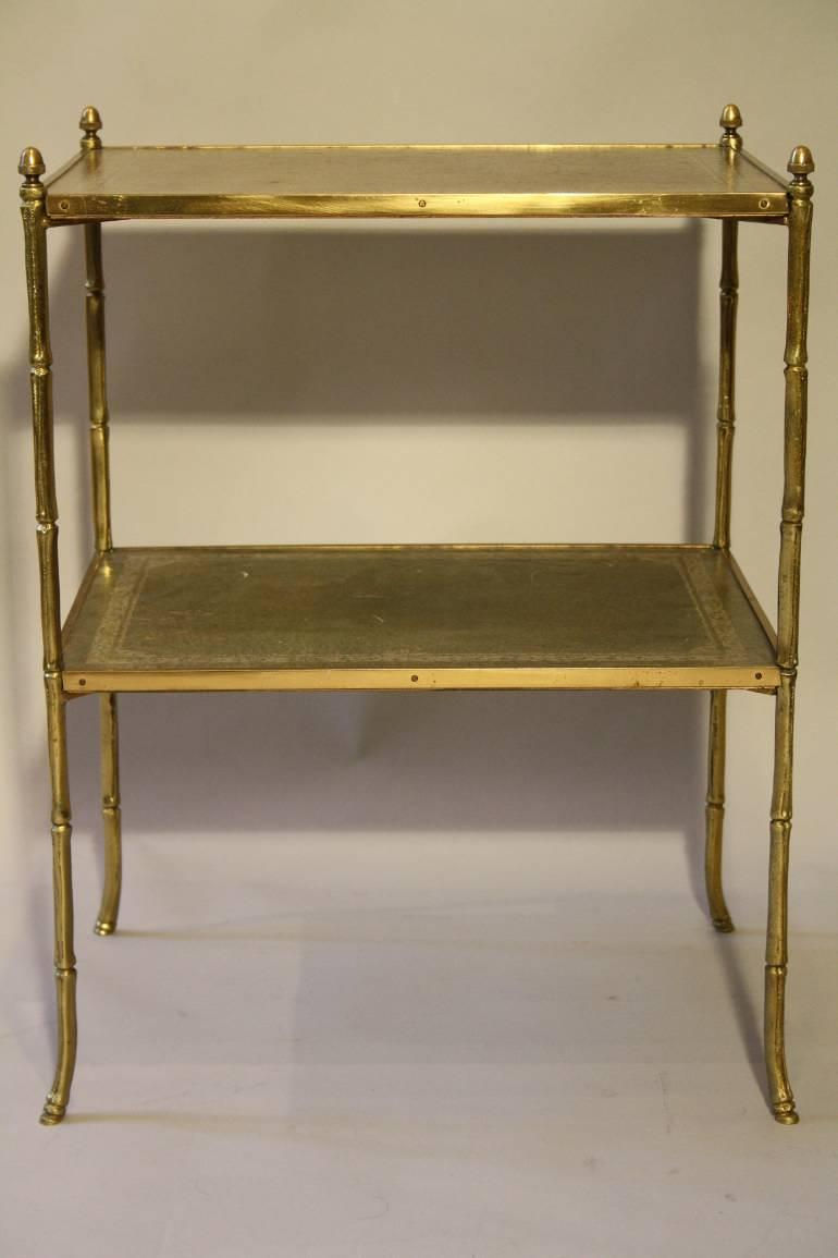 Two tier leather and gold metal bamboo side table, French c1950