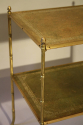 Two tier leather and gold metal bamboo side table, French c1950 - picture 2
