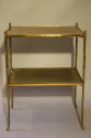 Two tier leather and gold metal bamboo side table, French c1950 - picture 4
