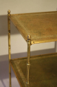Two tier leather and gold metal bamboo side table, French c1950 - picture 5
