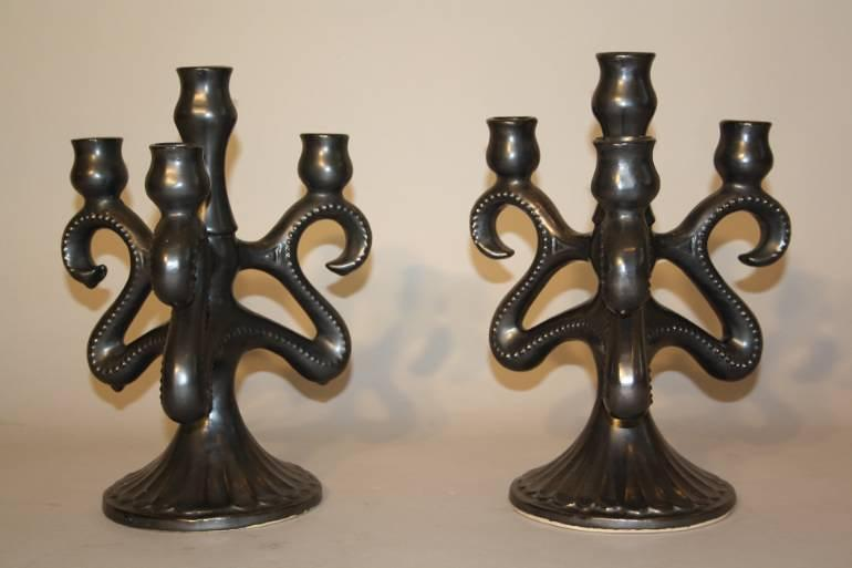 A Pair of Maine Sars Poteries Ceramic Candelabra