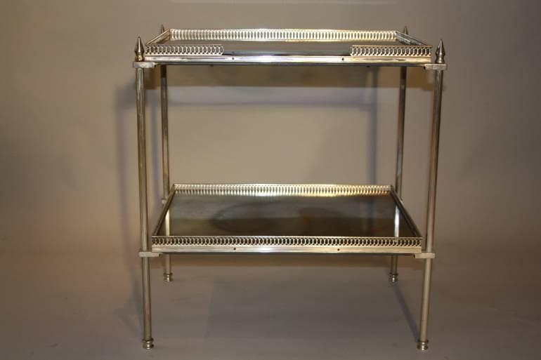 Two tier silver metal and mirror side table, French c1950