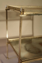 Two tier silver metal and mirror side table, French c1950 - picture 2