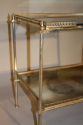 Two tier silver metal and mirror side table, French c1950 - picture 3