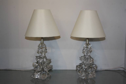Crystal glass table lamps by Schneider, France c1950