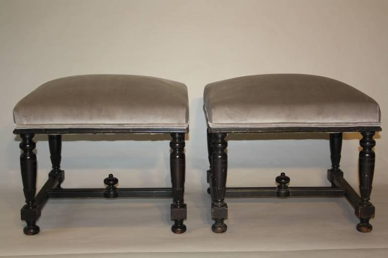 Pair of ebonised wood stools
