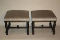 Pair of ebonised wood stools - picture 6