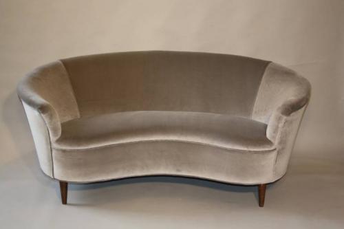 Italian vintage 1950`s velvet upholstered curved sofa.