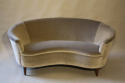 Italian vintage 1950`s velvet upholstered curved sofa. - picture 3
