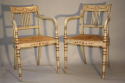Regency style red and ivory painted open armchairs with cane seats, c1920 - picture 1