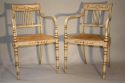 Regency style red and ivory painted open armchairs with cane seats, c1920 - picture 6