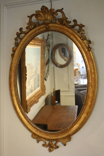 19thC gilt oval mirror