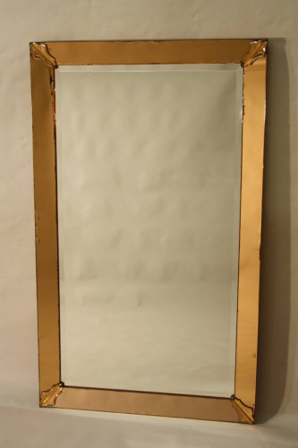 1950`s orange pink edged mirror. French