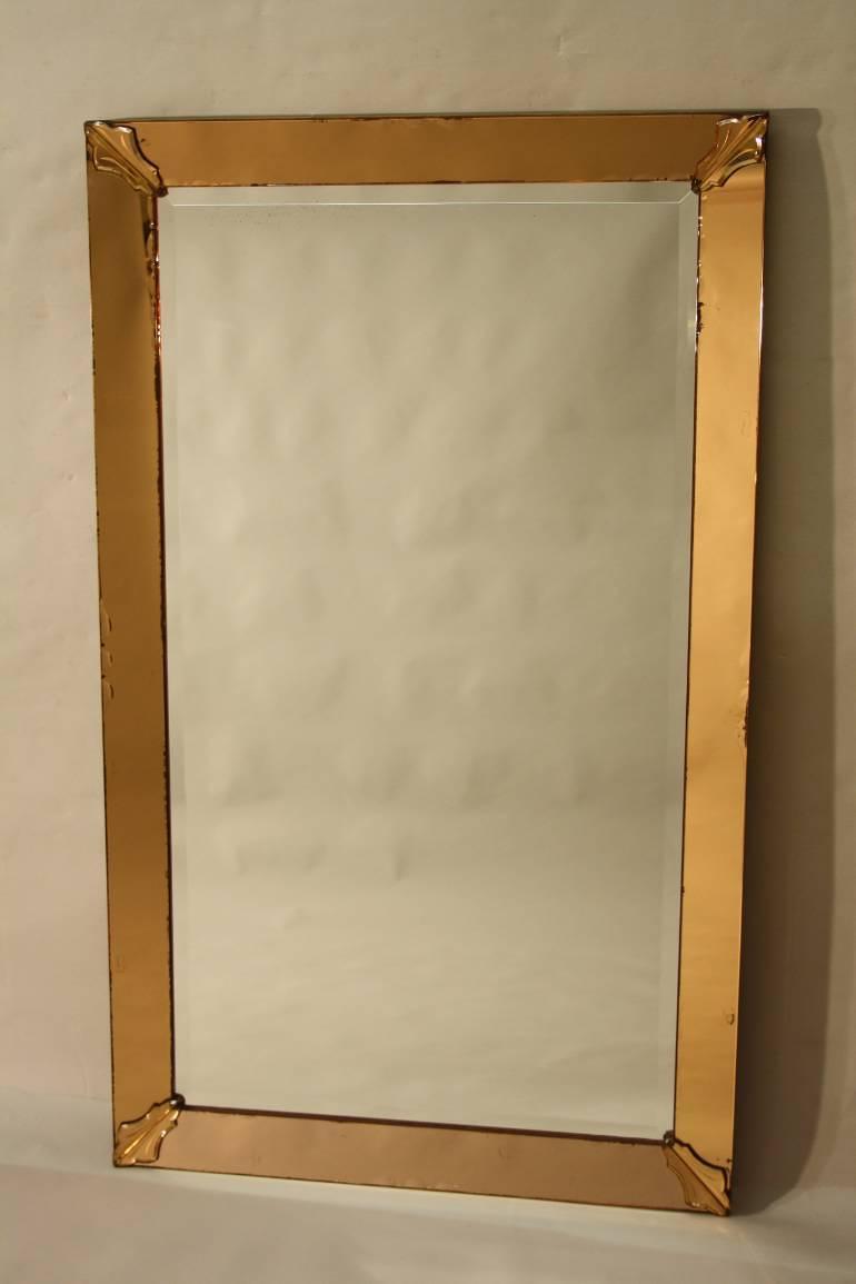 1950`s orange pink edged mirror. French