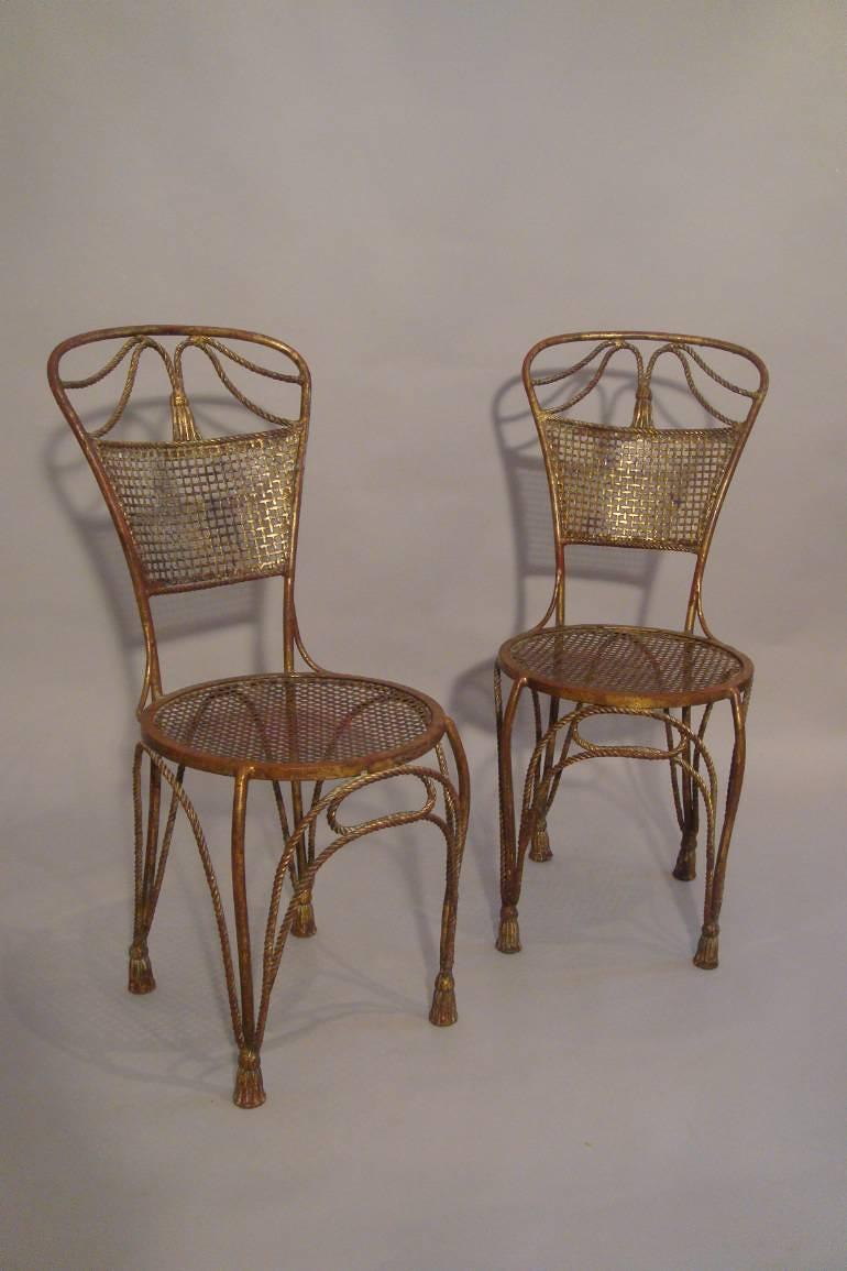 A pair of gilt metal rope twist chairs, French c1930