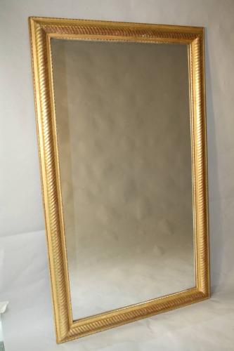 Gold leaf ripple/rope twist framed mercury glass mirror