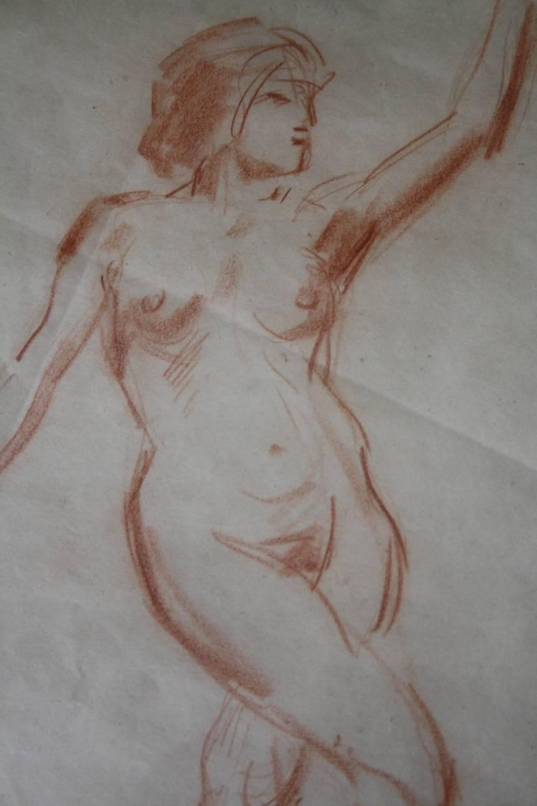 Red chalk Nude study by Othon Friesz