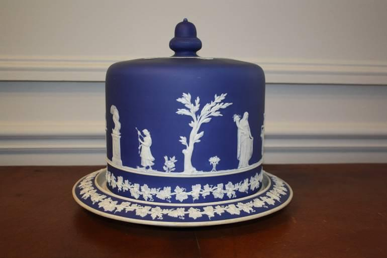 Brownhills pottery blue jasperware cheese dome, c1890. English