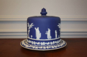 Brownhills pottery blue jasperware cheese dome, c1890. English - picture 3