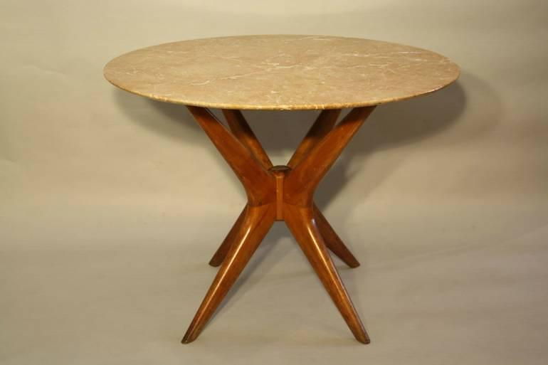 Italian marble and wooden X frame table, c1950