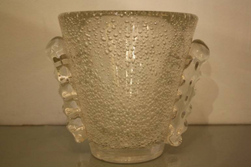 Glass bubble vase by Daum, French c1950. Signed