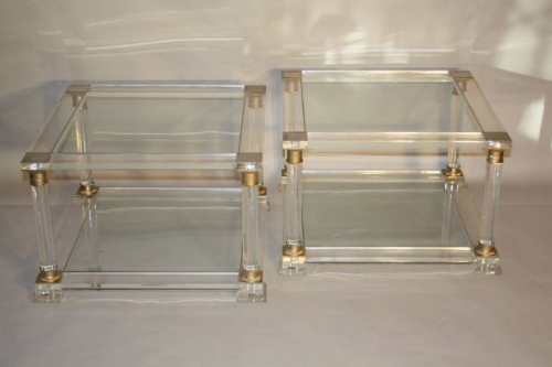 Pair of lucite two tier end tables