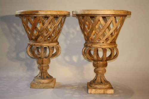 Fantastic pair of large hand made wooden urns, C20th
