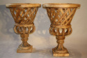 Fantastic pair of large hand made wooden urns, C20th - picture 5