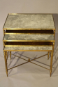 Nest of gilt metal and aged mirror plate side tables - picture 1