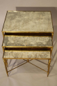 Nest of gilt metal and aged mirror plate side tables - picture 2
