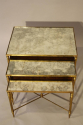 Nest of gilt metal and aged mirror plate side tables - picture 3