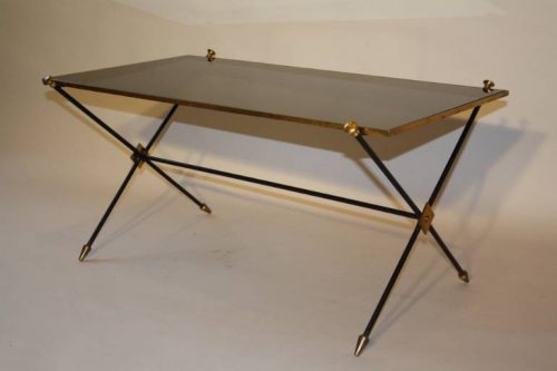 French 1950`s black vitrolite glass table with arrow detail.
