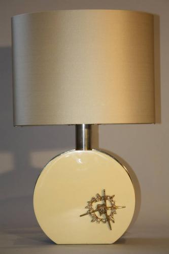 Cream lucite and gold sculpture lamp, c1970, Italian