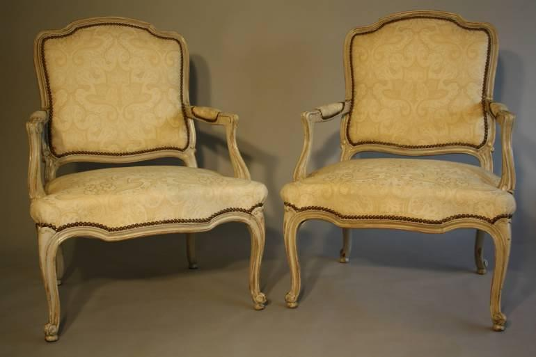 French antique pair of late C19th fauteuils