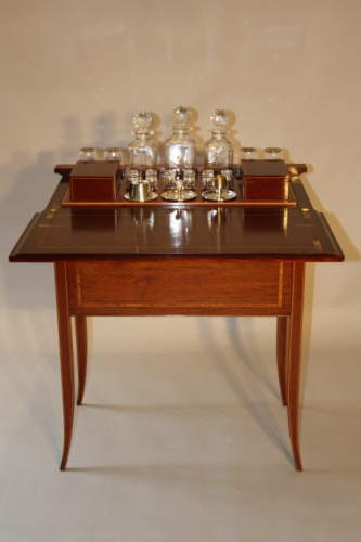 Mappin & Webb inlaid fold away drinks cabinet, c1910