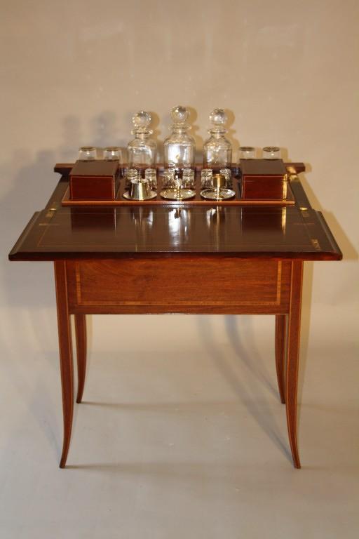 Mappin & Webb inlaid fold away drinks cabinet, c1910