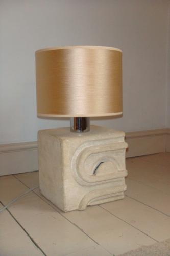 1970`s stone table lamp, tribal influence,  French/Italian origin