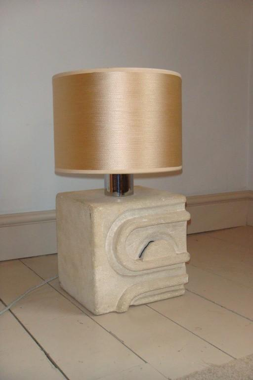 1970`s stone table lamp, tribal influence,  French/Italian origin