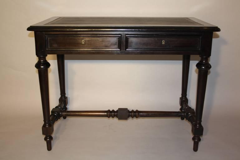 Ebonised French Napoleon III desk, c1860